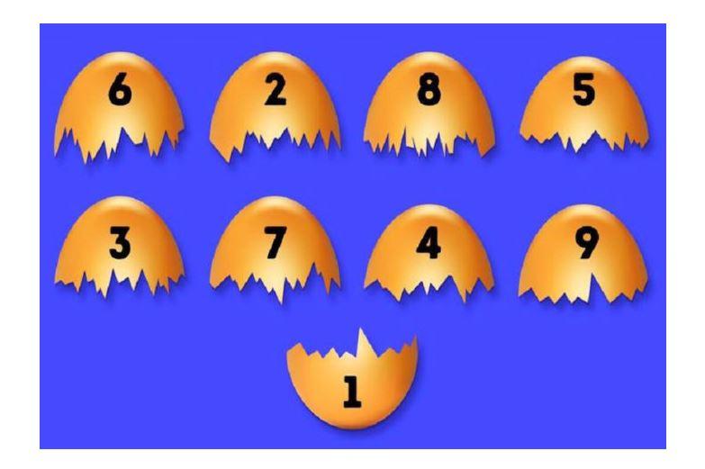 Mennyire vagy jó megfigyelő? Melyik tojáshéjhoz passzol az 1-essel jelölt darabka?